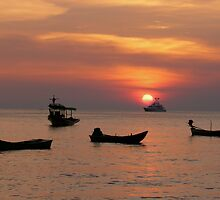 Thai sunset over the Andaman Sea by stjc