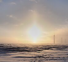 Sun Dogs on The Wind Farm by Geoffrey