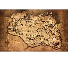 Distressed Maps: Elder Scrolls Skyrim Photographic Print