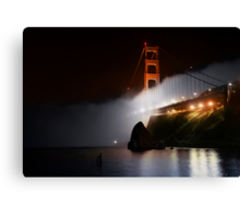 Golden Gate Fog at Night Canvas Print