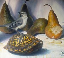 Mockingbird and the Box-turtle ( with tiger beetle) by Joe Helms