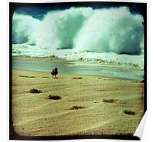 Stormy beach photography print, Los Cabos Mexico travel photography, green ocean waves footprints in the sand TTV Poster