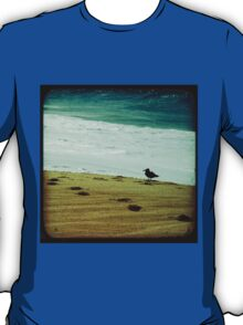 Calm beach photography 8x8 print, Los Cabos Mexico travel photography, green ocean waves seabird deep in thought dreamy TTV T-Shirt