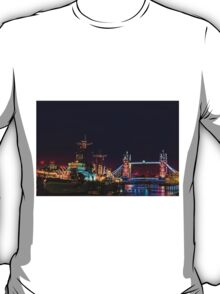 HMS Belfast And Tower Bridge at Night, London, England T-Shirt