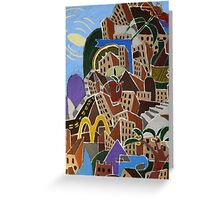 Colorful City with Abstract Symbols  Greeting Card