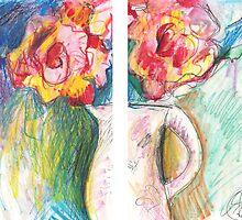 ROSES IN VASE IN 2 PARTS(C2006) by Paul Romanowski
