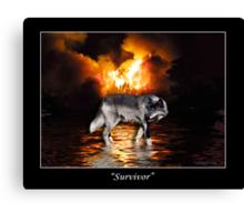 """""""Survivor"""" Grey Wolf & Burning Forest Fire Canvas Print"""