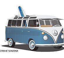 Hippie Split Window VW Bus Blue & Surfboard by Frank Schuster