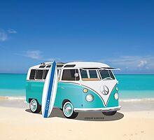 Hippie Split Window VW Bus Teal & Surfboard & Ocean by Frank Schuster