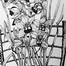Orchids on a chair by marlene veronique holdsworth