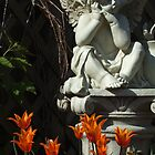 Orange Tulips and Cupid by John Beamish