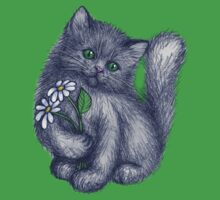 Cute Kitten with Daisies T-Shirt