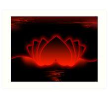 Red Love Lotus Art Print