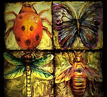 Golden Wings/dragonfly beetle ladybug and flutterby by bev langby