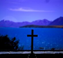 Lake Tekapo seen through the altar window of the Church of the Good Shepard in New Zealand by Aneurysm