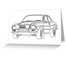 1970 Ford Escort RS2000 Fast and Furious Paul Walker's car Black Outline no fill. Greeting Card