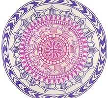 Pink Purple Gradient Mandala by elfinelines