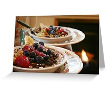 Oatmeal with Fruit and Walnuts Greeting Card