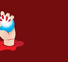 Hand grasping Blue ORB in blood with blood red fingernails by jazzydevil