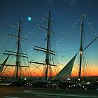 Sailship Lights at Sunset by Laurel Talabere