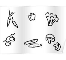 vegetables mushrooms Poster