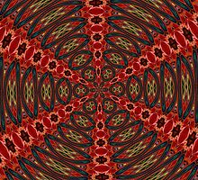 Red, Green And Gold Kaleidoscopic Abstract by taiche