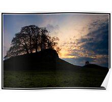 Grassy Knoll at sunset near Downham Poster
