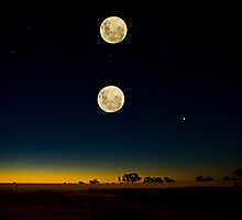 Triple Exposure-Moon-Sunset by Murray Wills