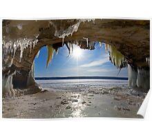 Lake Superior Cave on Grand Island in Winter - Munising Michigan Poster