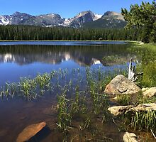 Shallow Colorado Lake Shore with Distant Mountains by davidpurcell