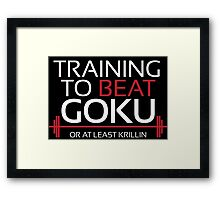 Training to beat Goku - Krillin - White Letters Framed Print