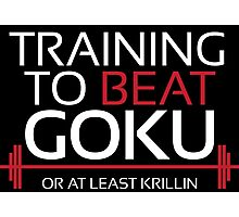 Training to beat Goku - Krillin - White Letters Photographic Print