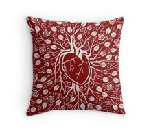 roses and human heart Throw Pillow
