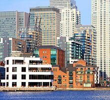Canary Wharf from Millwall Docks by Dave Law