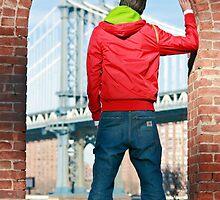 Boy looking at Manhatten bridge NYC by timokohlenberg