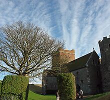 Family entering St Mary Church inside Dover Castle in England by ashishagarwal74