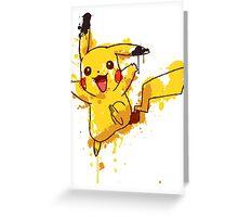 Pikachu Splatter Greeting Card