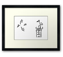 stork nest chimney storks Framed Print