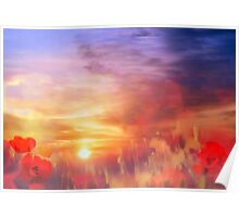 Landscape of dreaming Poppies'... Poster