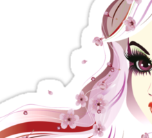 Floral Girl with White Hair 3 Sticker