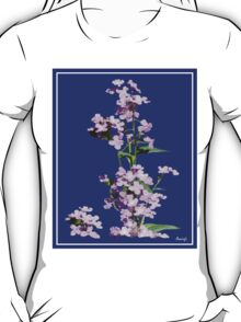 Pink flowers in blue back ground T-Shirt