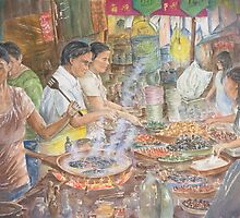 Food Stall in Chiang Mai, Thailand, watercolour by Paul Sagoo by HurstPainters