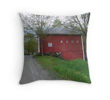 Red barn - West Calais, VT Throw Pillow