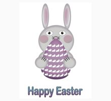 Happy Easter Bunny Rabbit with Easter Egg by Shelley Neff