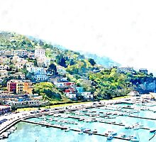 Agropoli: landscape with port by Giuseppe Cocco