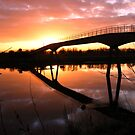 Ferry Footbridge Bridge at Sunset by AnnDixon
