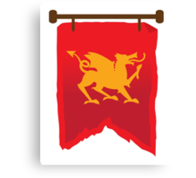 Gold rampant dragon on a field of RED banner Canvas Print