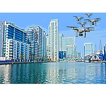 Drone swarm over the Docklands! Photographic Print