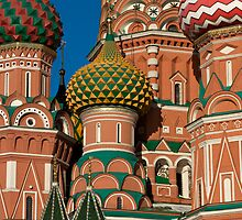Detail of the St. Basil Cathedral on the Red Square in Moscow, Russia by Mikhail Kovalev