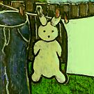Rabbit on a washing line by sword